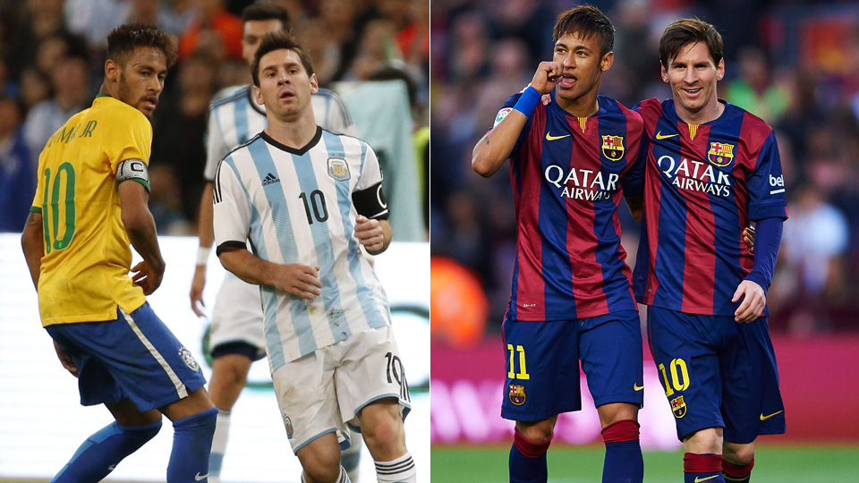 Club teammates turned international adversaries: Barcelona's Lionel Messi and Neymar lead Argentina, Brazil at the 2015 Copa America.