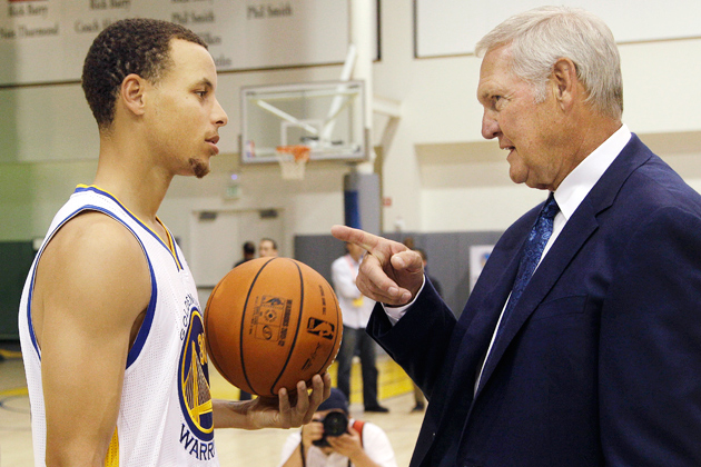 Stephen Curry and Jerry West, pictured in 2012, have the Warriors in the NBA Finals.