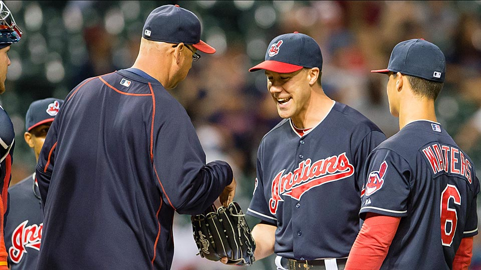 Outfielder David Murphy replaced fellow position player Ryan Raburn in the Indians' blowout loss