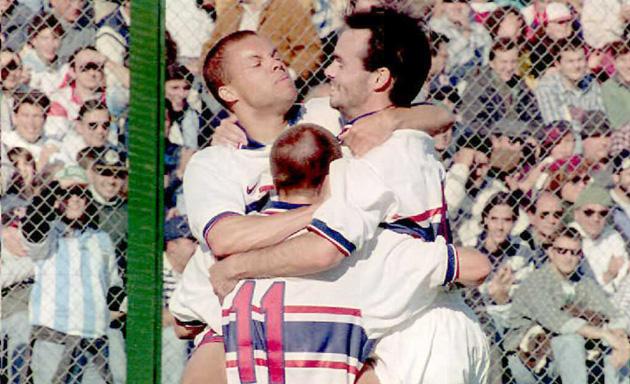Earnie Stewart, Eric Wynalda and Mike Burns celebrate a USA goal in the 1995 Copa America