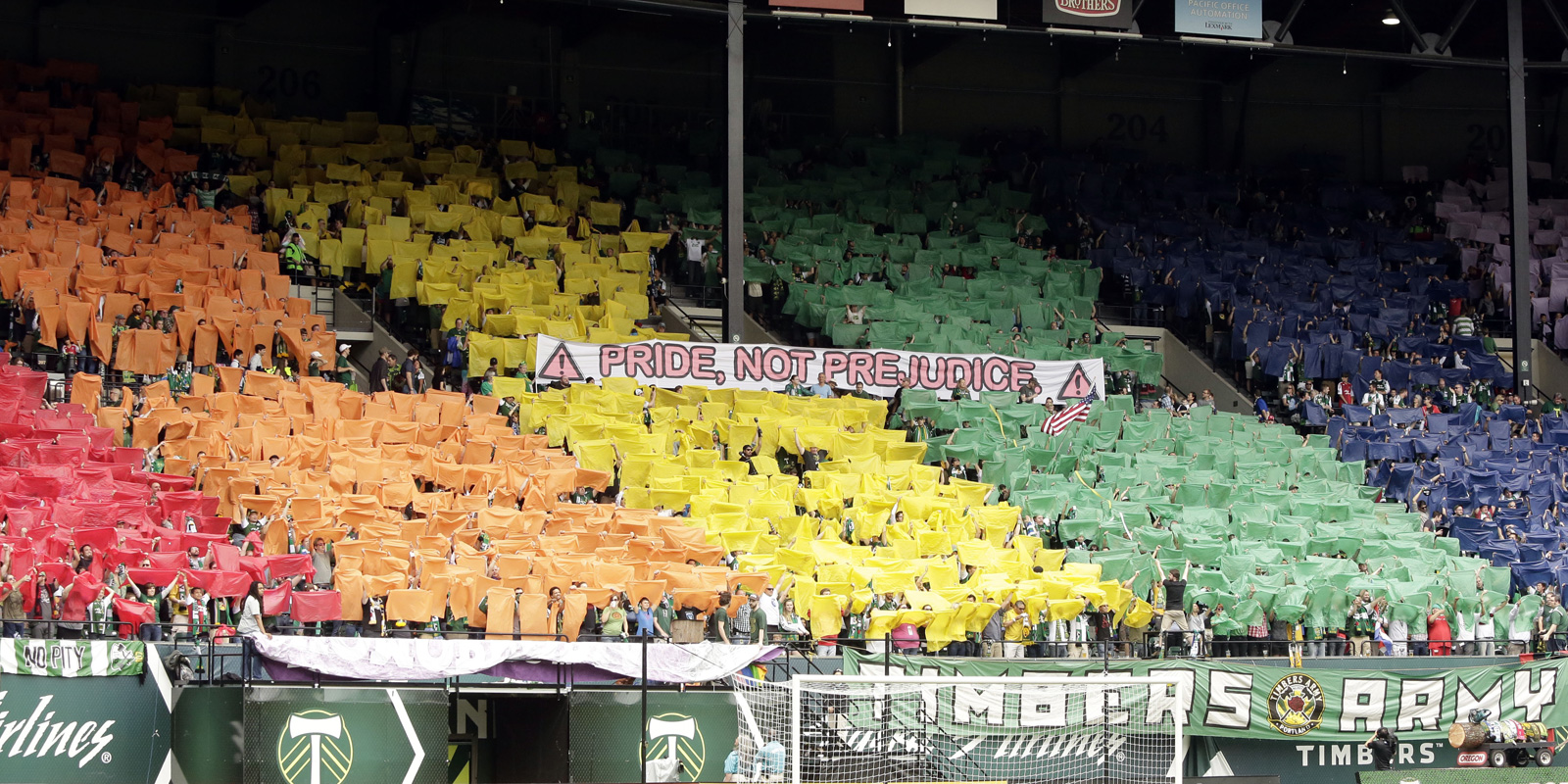 Portland Timbers fans speak out against homophobia with this tifo in a 2013 match against Chivas USA