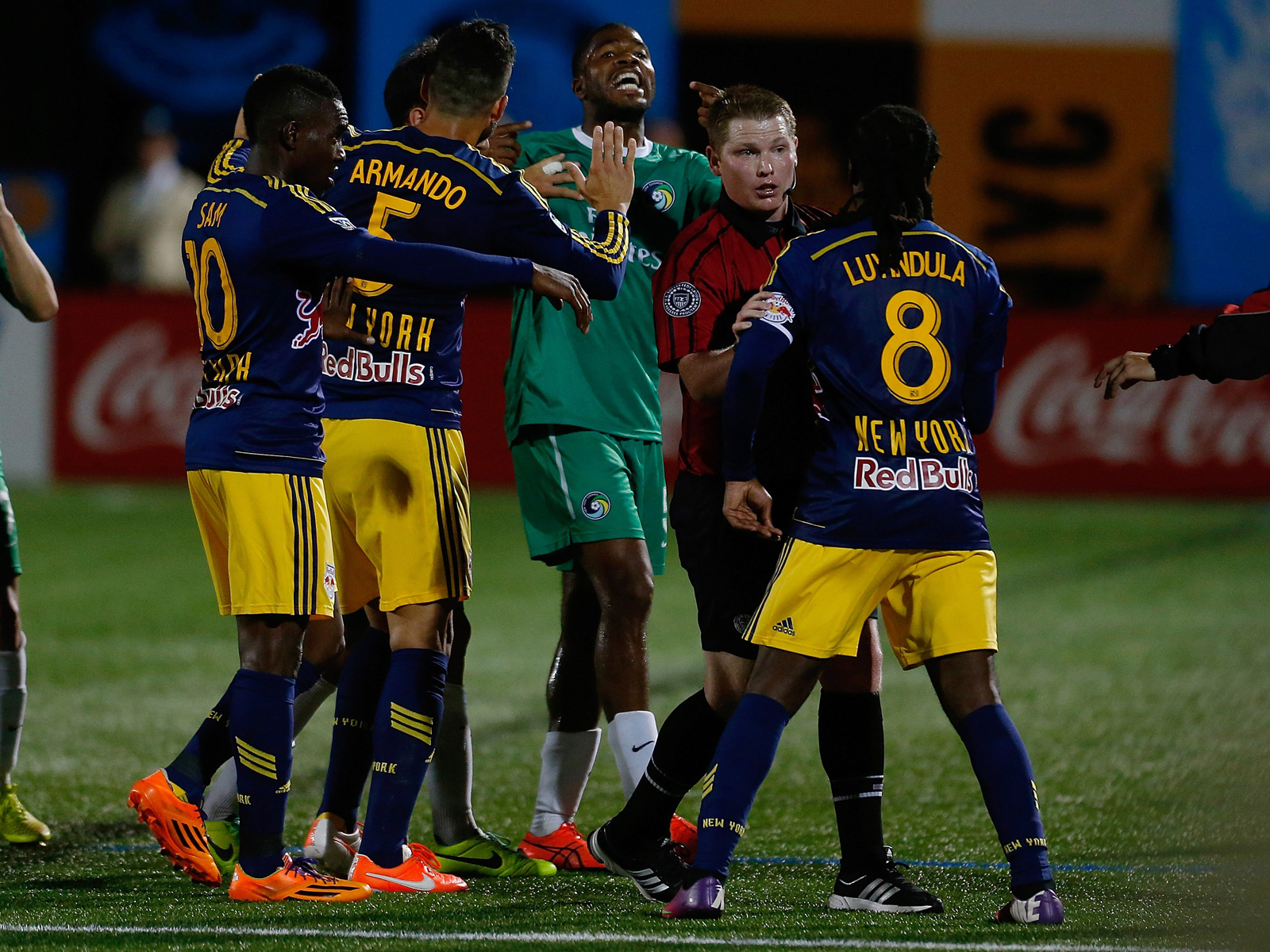 Tempers flare in the New York Red Bulls' 2014 U.S. Open Cup match against the New York Cosmos, won by the NASL team 3-0.
