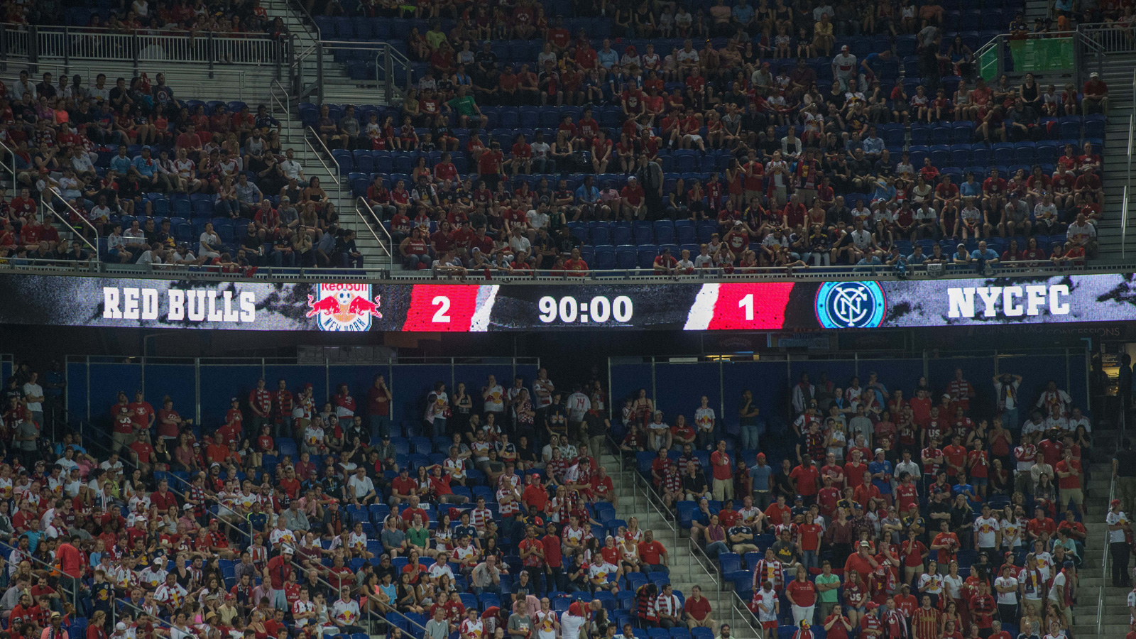 The scoreboard tells all, as the Red Bulls win the inaugural MLS match against expansion club NYCFC on May 10, 2015 at Red Bull Arena.