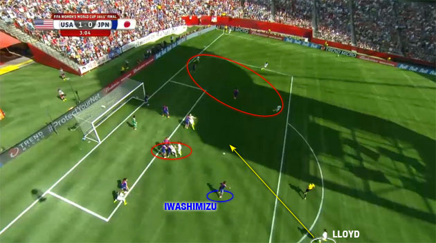 Carli Lloyd's first goal against Japan in the Women's World Cup final