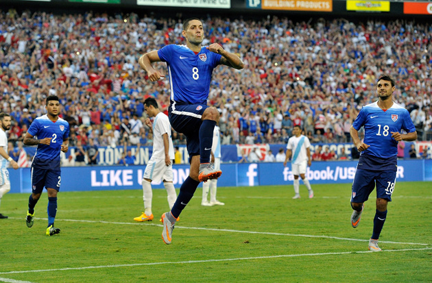 Clint Dempsey celebrates his goal for the USA against Guatemala