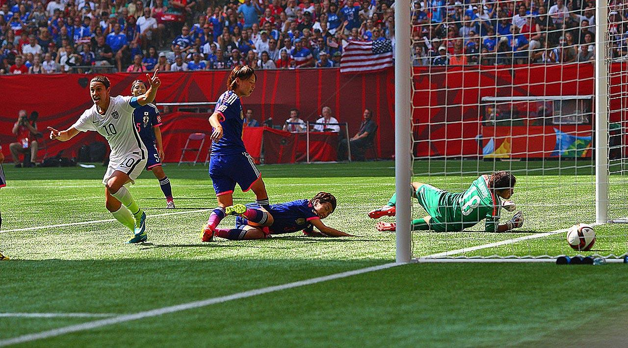 Carli Lloyd sets the tone with a third-minute goal in the Women's World Cup final against Japan, the first of her three strikes within 16 minutes that lifted the USA to a 5-2 win and its first title in 16 years.