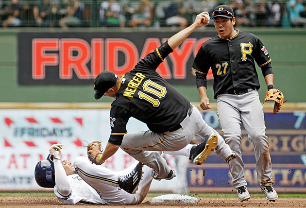 Carlos Gomez, Milwaukee Brewers and Jordy Mercer, Pittsburgh Pirates