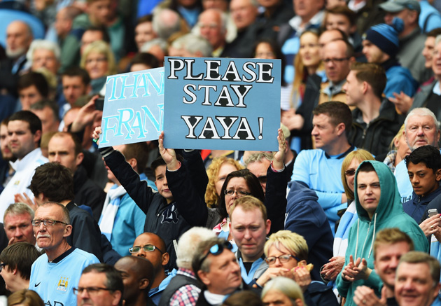 A Manchester City fan pleads for Yaya Toure to remain at Manchester City