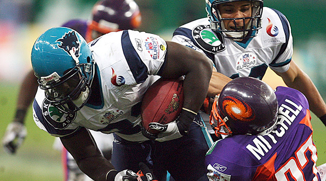 The final game in NFL Europe history was an All-German affair. Jermaine Allen and the Hamburg Sea Devils defeated the Frankfurt Galaxy 37-28 in World Bowl XV, played at Frankfurt's Commerzbank Arena on June 23, 2007. (Lars Baron/Bongarts/Getty Images)