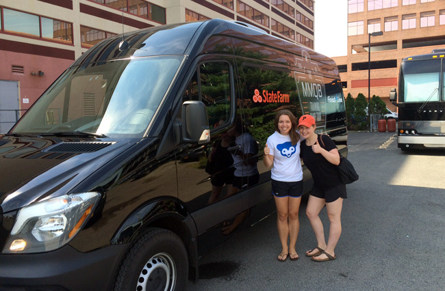 Kalyn Kahler and Emily Kaplan with our new Bandago van.