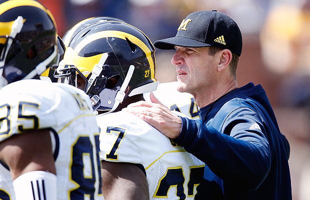 Jim Harbaugh will coach his first season at his alma mater, the University of Michigan.
