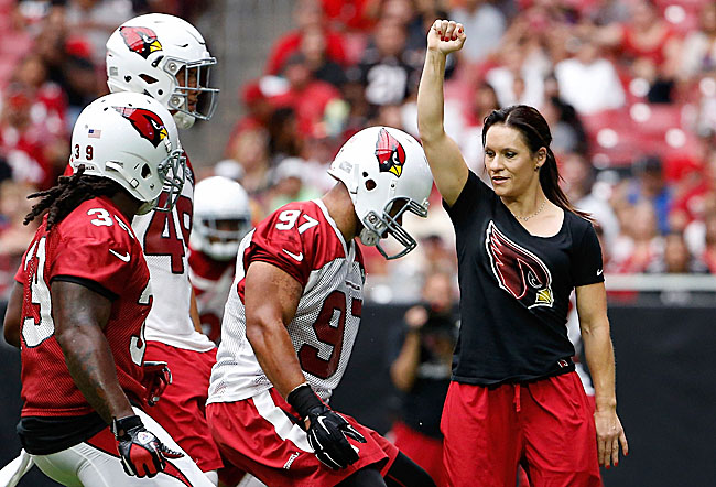Jen Welter, the NFL's first female coach, at Cardinals training camp
