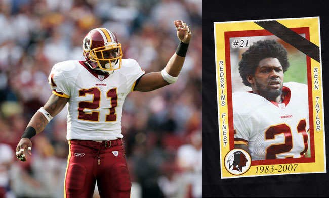 In his four NFL seasons, Sean Taylor was named to two Pro Bowls, one posthumously after being murdered in November 2007. (Photos by James Lang/US Presswire and Simon Bruty/Sports Illustrated)