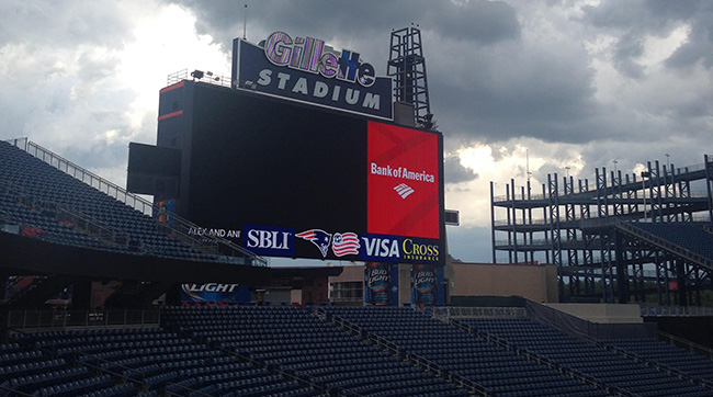 Storm clouds brew over Gillette Stadium. Photo: Jenny Vrentas/The MMQB