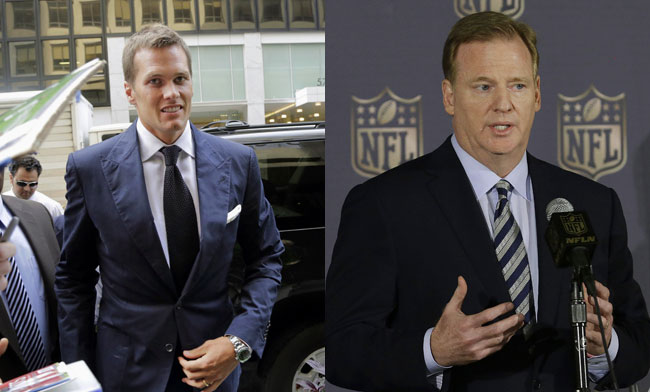 Tom Brady and Roger Goodell (Mark Lennihan and Jeff Chiu/AP)