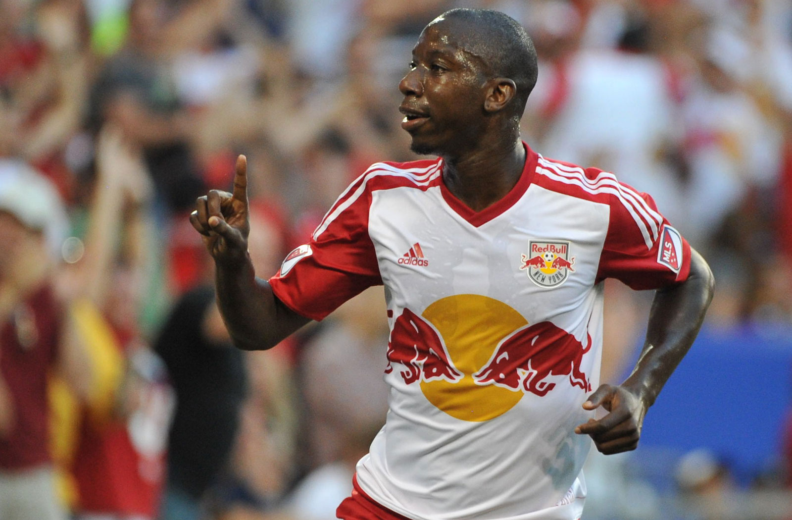 Bradley Wright-Phillips celebrates his goal that gave the Red Bulls a 1-0 lead over NYCFC in their third meeting of the 2015 season.