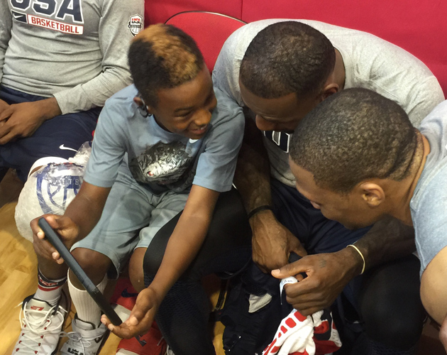 LeBron James, his son LeBron James Jr. and Russell Westbrook during USA Basketball minicamp.