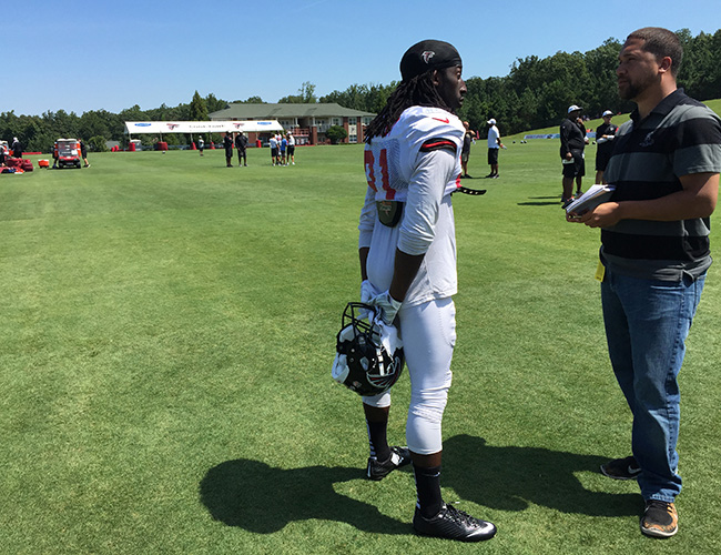 FLOWERY BRANCH, GA. — Robert Klemko spoke to Falcons cornerback Desmond Trufant following a sunny morning practice.