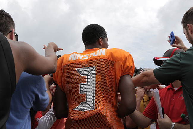 TAMPA, FLA. — Buccaneers quarterback Jameis Winston addressed the media after a muggy morning practice.