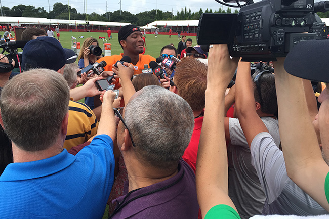 TAMPA, FLA. — Winston was all smiles for reporters, even after the rookie threw a couple picks in practice.