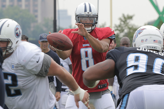 NASHVILLE, TENN. — Rookie quarterback Marcus Mariota had yet to throw a pick through five practices when we visited Titans camp.