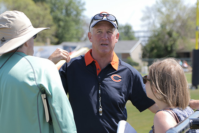 BOURBONNAIS, ILL. — Peter and Emily Kaplan spoke with head coach John Fox after a sunny day Bears practice in central Illinois.