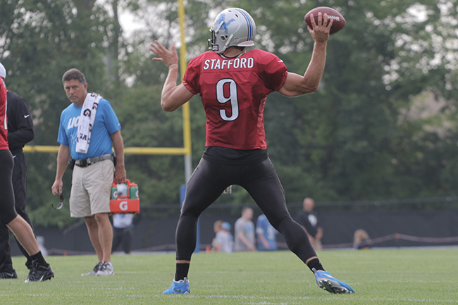 ALLEN PARK, MICH. — Quarterback Matt Stafford stepped back to pass on a muggy morning at the Lions practice facility.