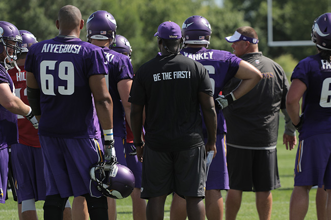 MANKATO, MINN. — Vikings players huddled up on the opening day of training camp.
