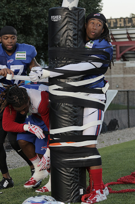 PITTSFORD, N.Y. — After an evening practice, Bills safety Duke Williams taped rookie Ronald Darby to the goal post; a light hearted welcome-to-the-league moment for the second-round pick.