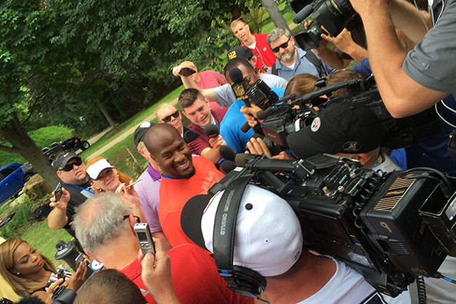 LATROBE, PA. — Media swarmed to Steelers linebacker James Harrison following afternoon practice.