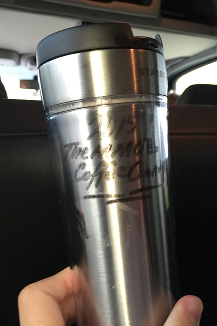 SOMEWHERE ON THE NEW JERSEY TURNPIKE, N.J. — We used this coffee mug to keep track of how many Starbucks stops we made to fuel up on caffeine along the way. Final Tally? 22.