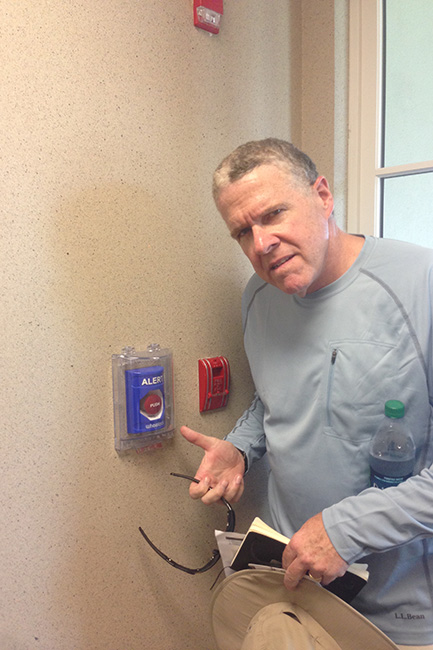 OWINGS MILLS, MD. — Last year, Peter King set off this emergency alarm, thinking that the button would open the door.