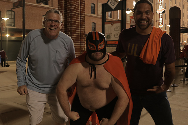 BALTIMORE, MD. — After Ravens practice, we visited Camden Yards for an Orioles game where Peter and Robert Klemko met a very spirited new friend.