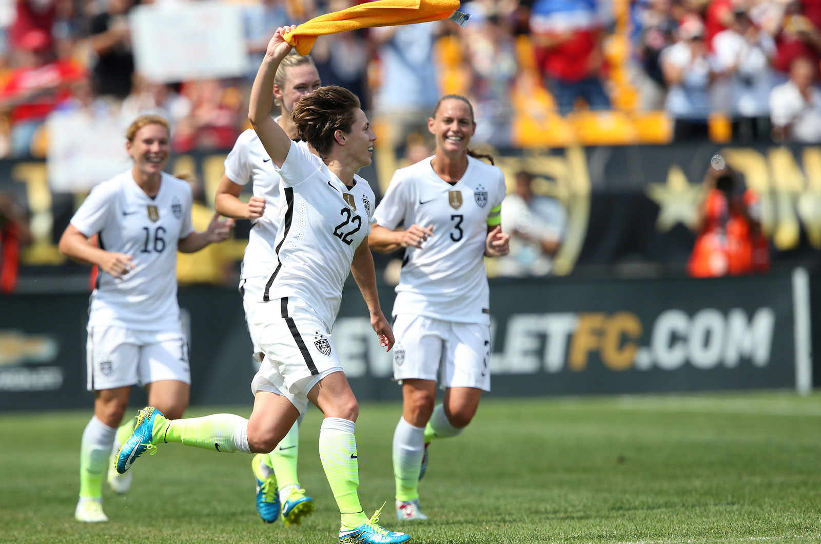 Meghan Klingenberg waves a Terrible Towel in her hometown of Pittsburgh after scoring one of the USA's many goals in an 8-0 rout of Costa Rica in its first game since winning the 2015 Women's World Cup.