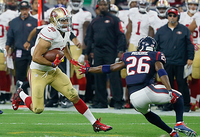 Australian rugby player Jarryd Hayne rushed for 63 yards on five carries in his NFL debut last week. (Bob Levey/Getty Images)