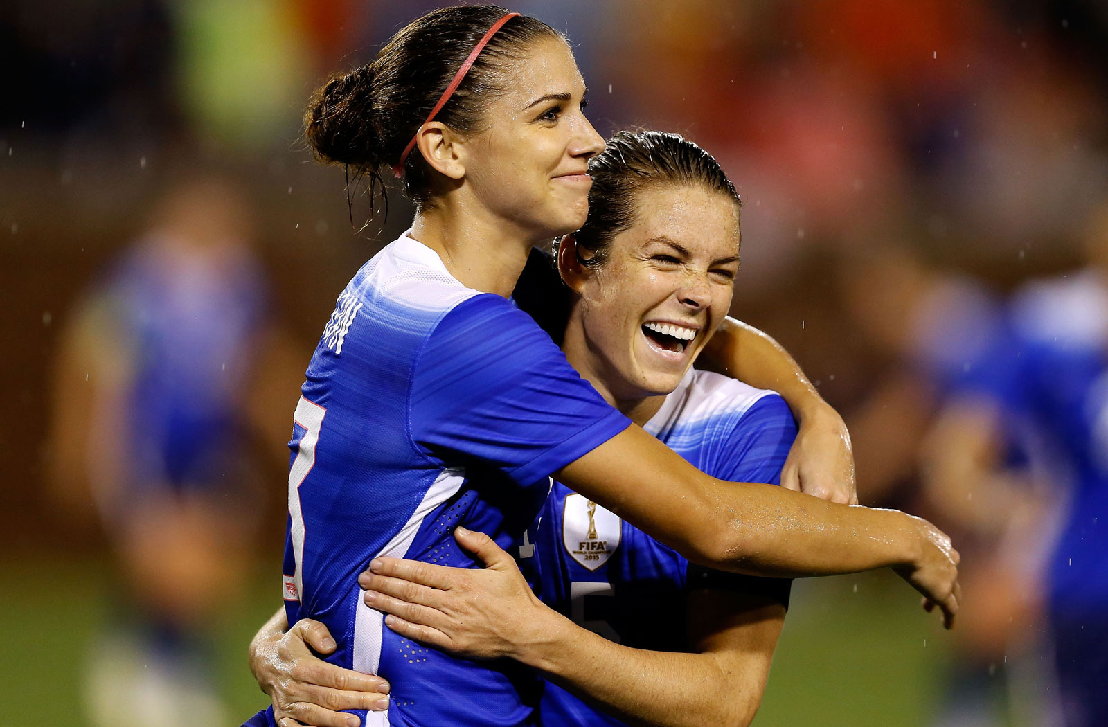 Alex Morgan and Kelley O'Hara celebrate during a second rout of Costa Rica in three days, this one a 7-2 win in Chattanooga, Tennessee.