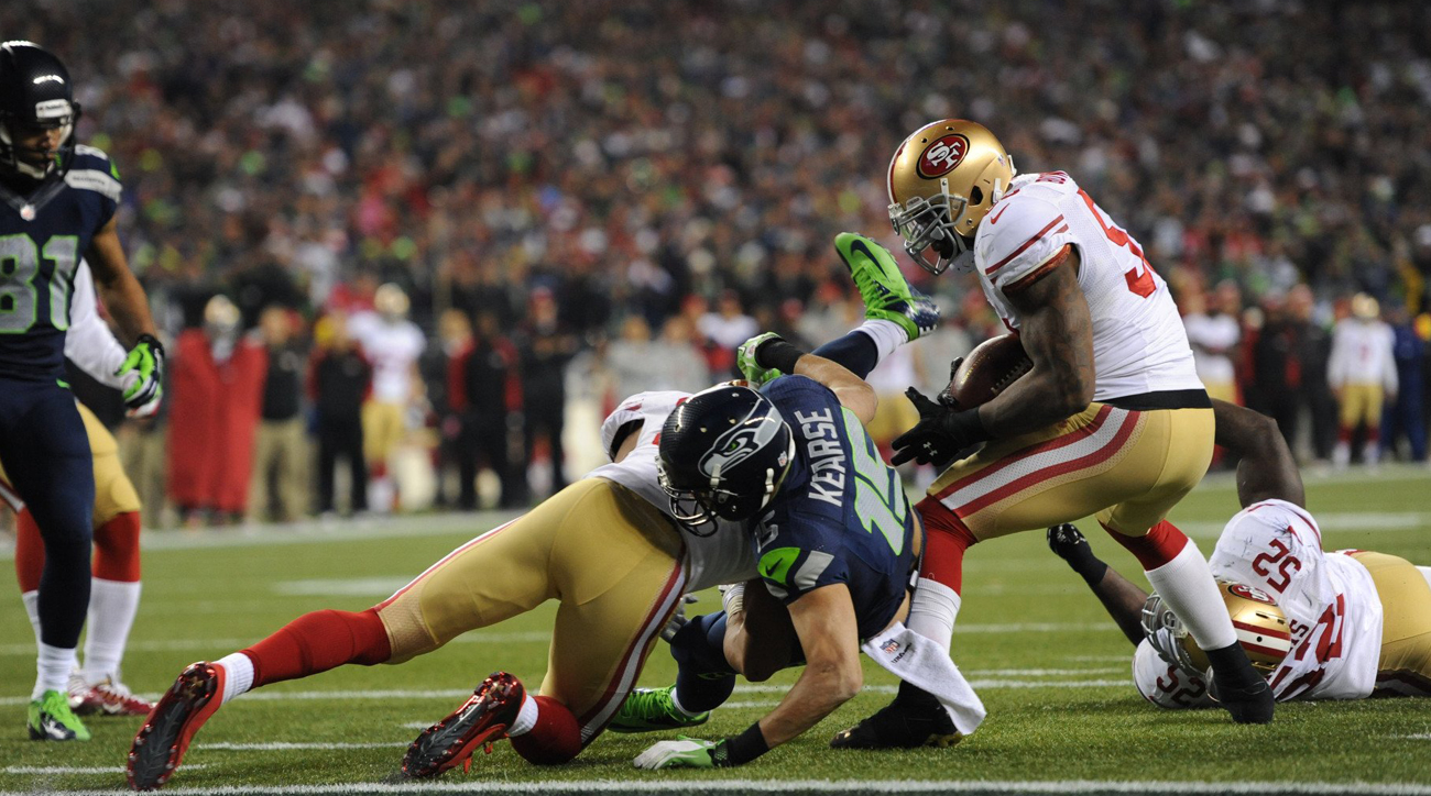 Navorro Bowman of the San Francisco 49ers injures his in the 2014 NFC Championship Game