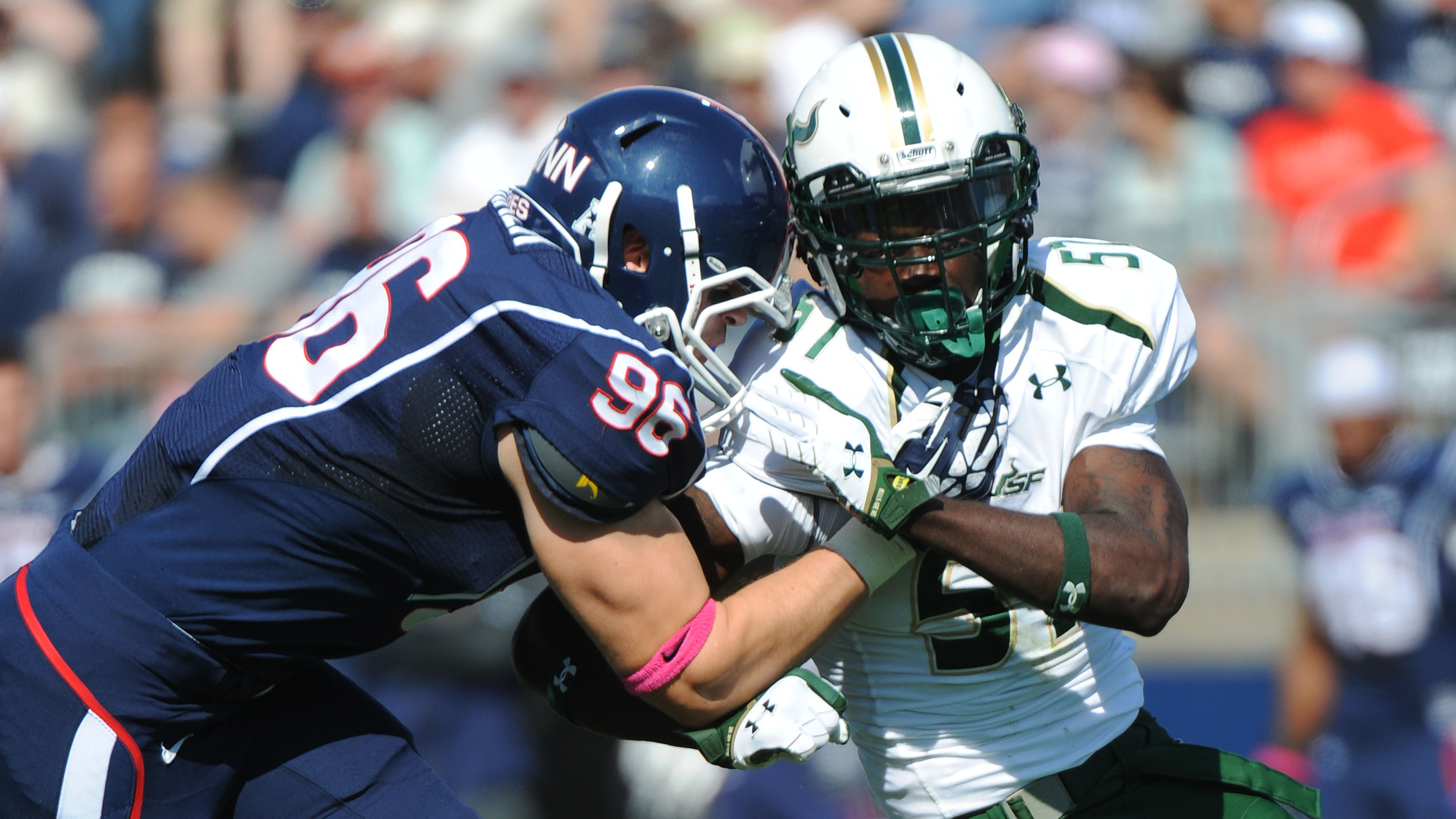 University of South Florida linebackers Nigel Harris (right) and Tashon Whitehurst have been suspended for two games of the 2015 season for violating team rules.