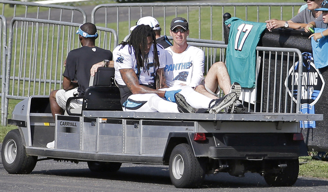 Kelvin Benjamin's torn ACL happened during a Panthers practice. (Chuck Burton/AP)