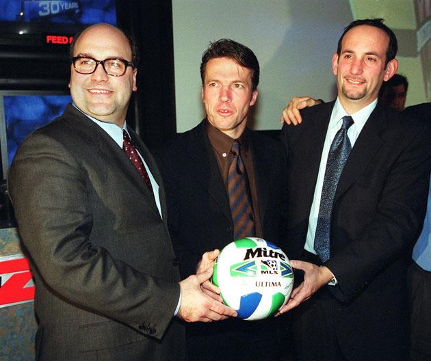 Stillitano, Lothar Matthaus and Don Garber in 1997