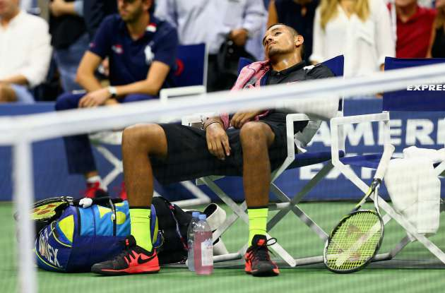Nick Kyrgios sleeping at the US Open