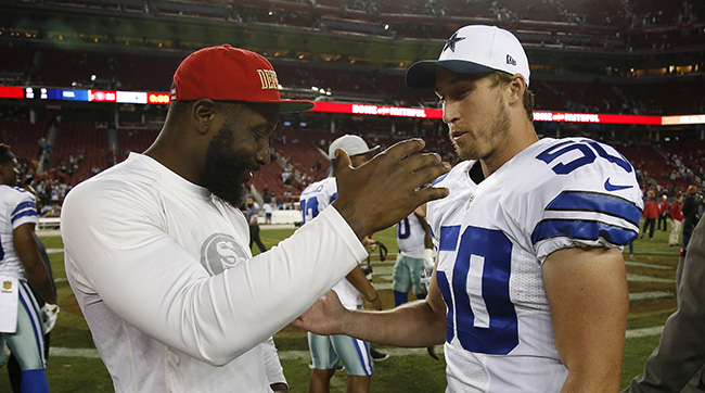 Fellow Penn Staters NaVorro Bowman and Sean Lee chat on the field after Cowboys at 49ers preseason game in Santa Clara Aug. 23. (AP Photo/Tony Avelar)