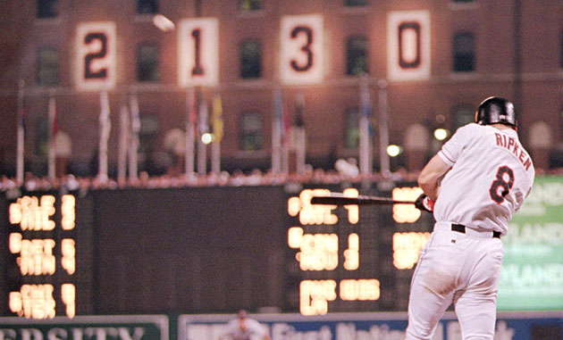 Though he had just 17 home runs all year, Ripken went deep in games 2,129, 2,130 and 2,131.