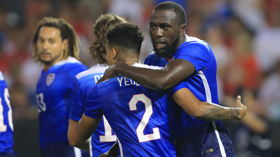 Jozy Altidore, right, is congratulated after one of his two goals that sparked the USA's come-from-behind win over Peru at RFK Stadium in Washington, D.C.