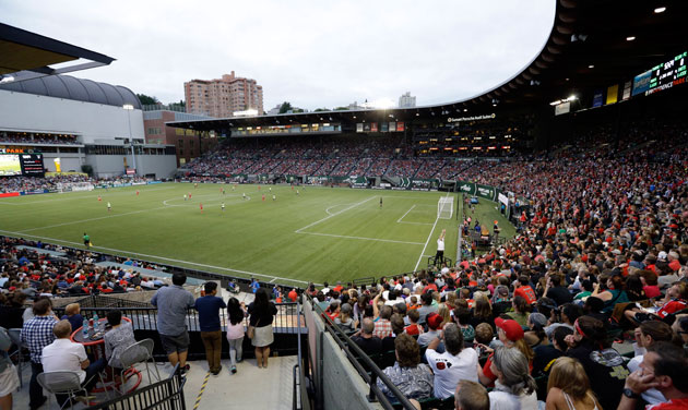 Portland's Providence Park is packed as the Portland Thorns play the Seattle Reign in NWSL