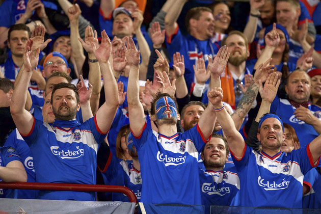 Iceland fans celebrate a second win over the Netherlands