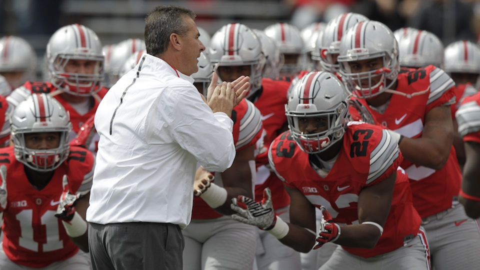 The Ohio State Buckeyes before their game against Hawaii.