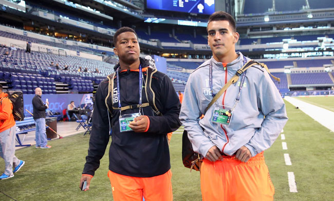 Jameis Winston and Marcus Mariota at the 2015 NFL combine. (Todd Rosenberg/Sports Illustrated/The MMQB)