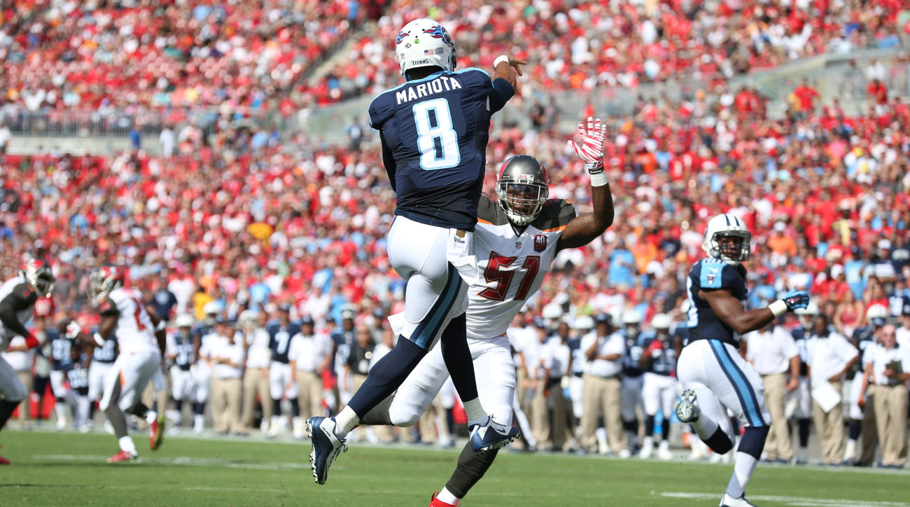 Mariota finished with a perfect 158.3 passer rating. (Photo: Gary Bogdon for Sports Illustrated/The MMQB)