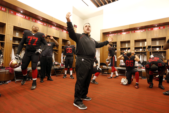 It's homecoming week for Jim Tomsula. The Pittsburgh native looks to keep his ALL TIME PERFECT RECORD intact. (Michael Zagaris/Getty Images)